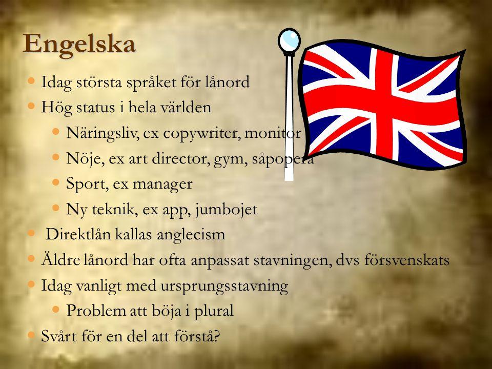 Engelska Idag största språket för lånord Hög status i hela världen