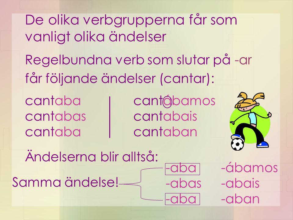 De olika verbgrupperna får som vanligt olika ändelser