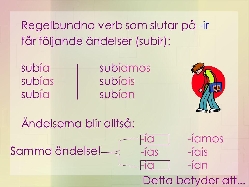 Regelbundna verb som slutar på -ir