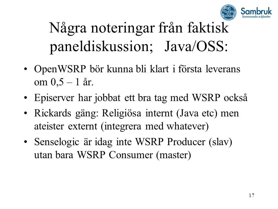 Några noteringar från faktisk paneldiskussion; Java/OSS: