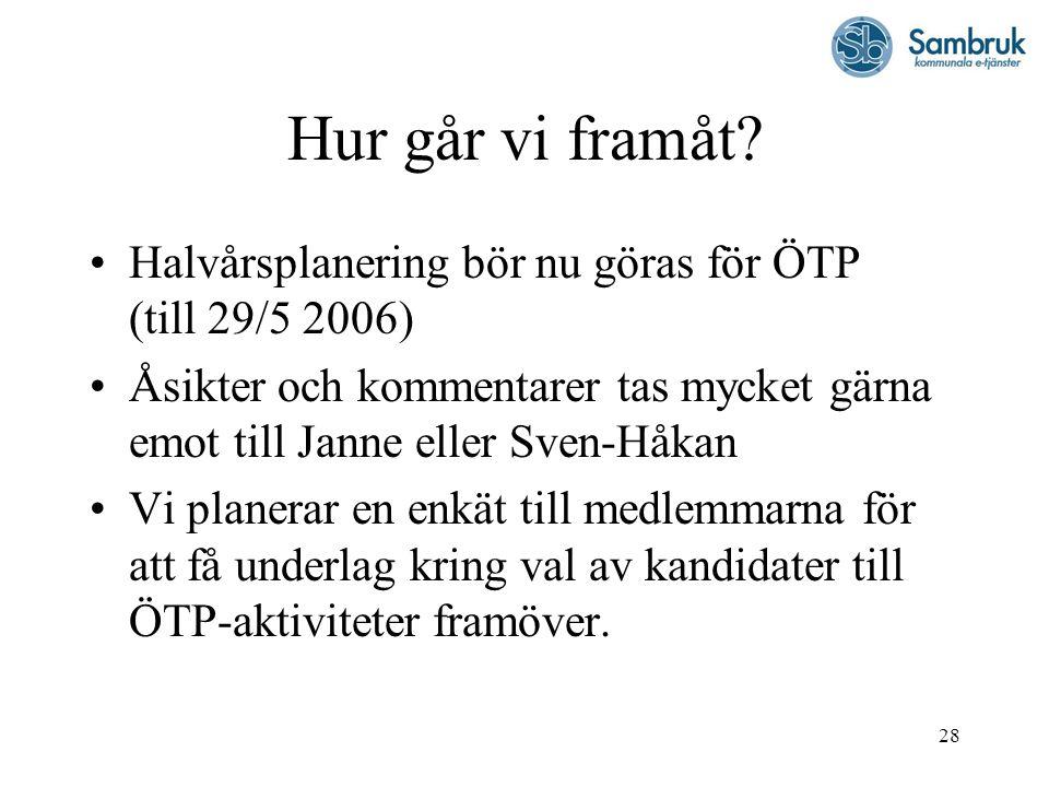Hur går vi framåt Halvårsplanering bör nu göras för ÖTP (till 29/5 2006) Åsikter och kommentarer tas mycket gärna emot till Janne eller Sven-Håkan.