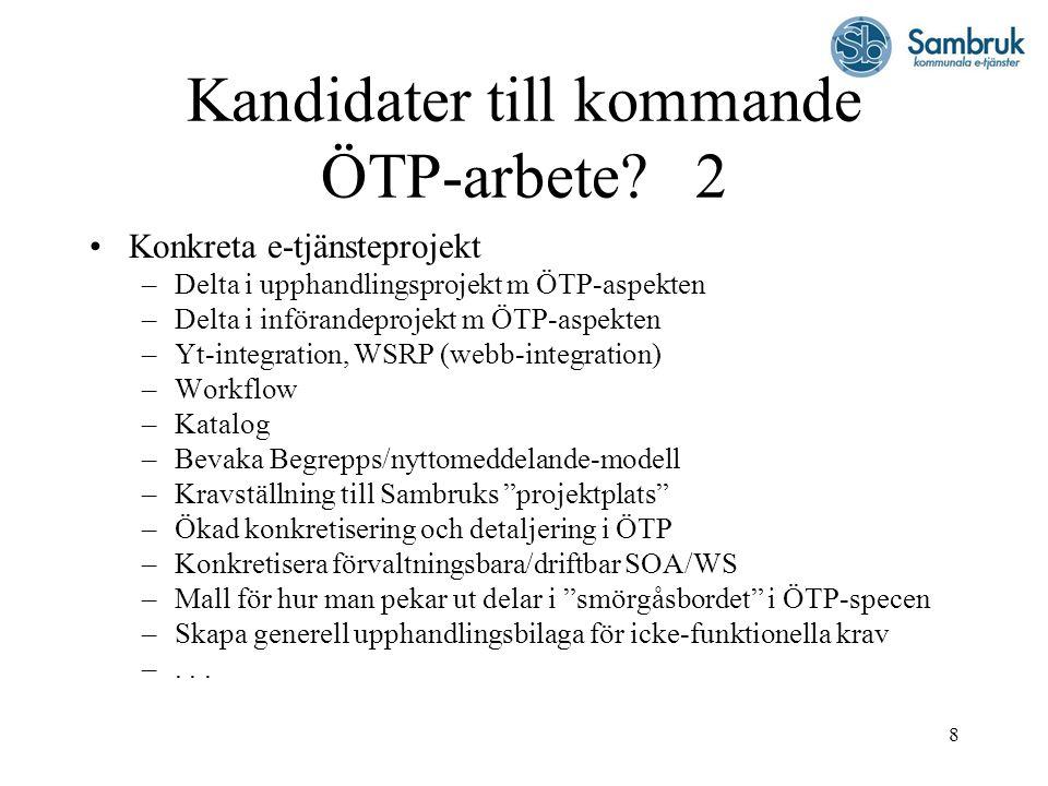 Kandidater till kommande ÖTP-arbete 2