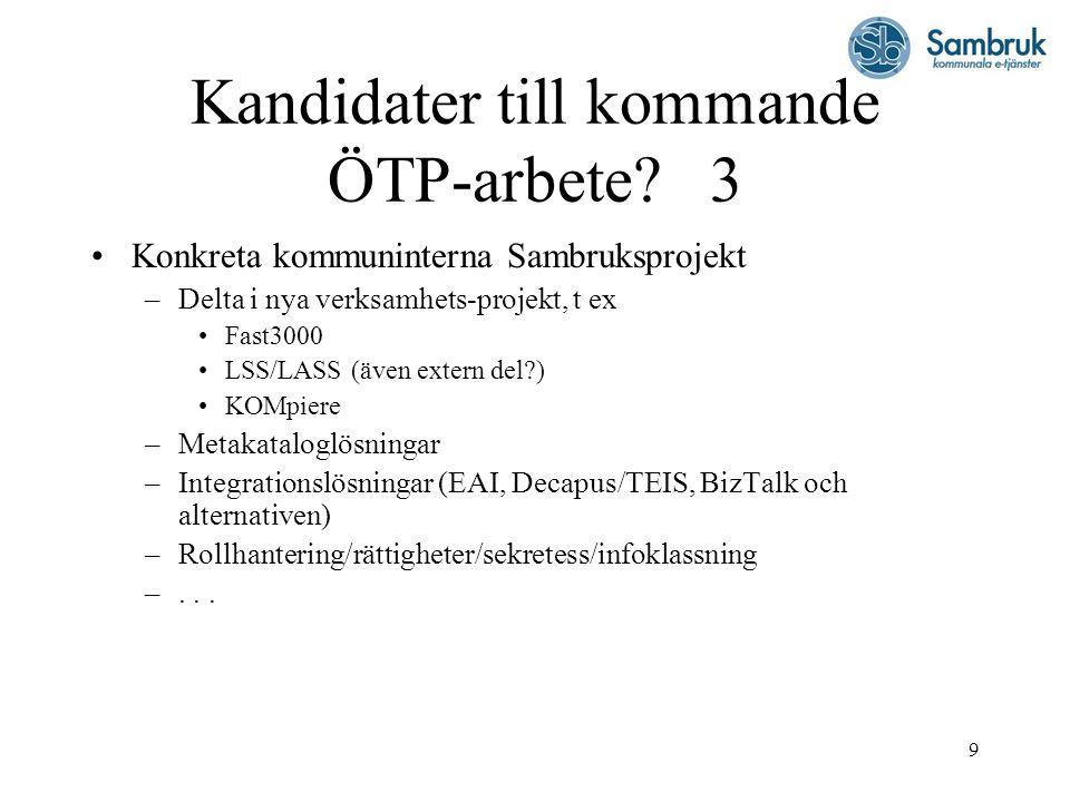 Kandidater till kommande ÖTP-arbete 3