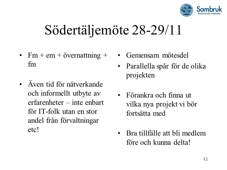 Södertäljemöte 28-29/11 Fm + em + övernattning + fm
