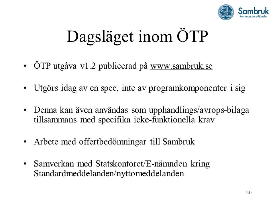 Dagsläget inom ÖTP ÖTP utgåva v1.2 publicerad på www.sambruk.se