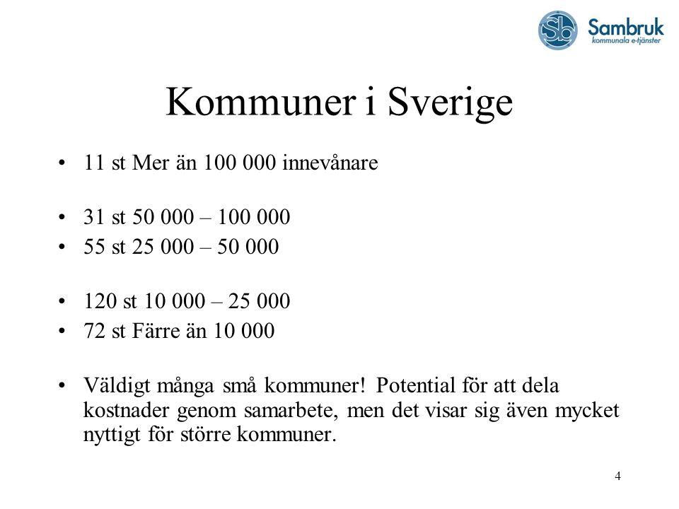 Kommuner i Sverige 11 st Mer än 100 000 innevånare
