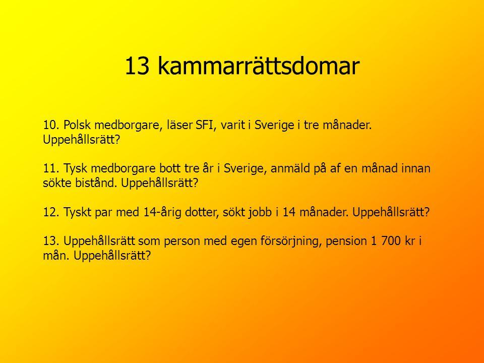 13 kammarrättsdomar 10. Polsk medborgare, läser SFI, varit i Sverige i tre månader. Uppehållsrätt