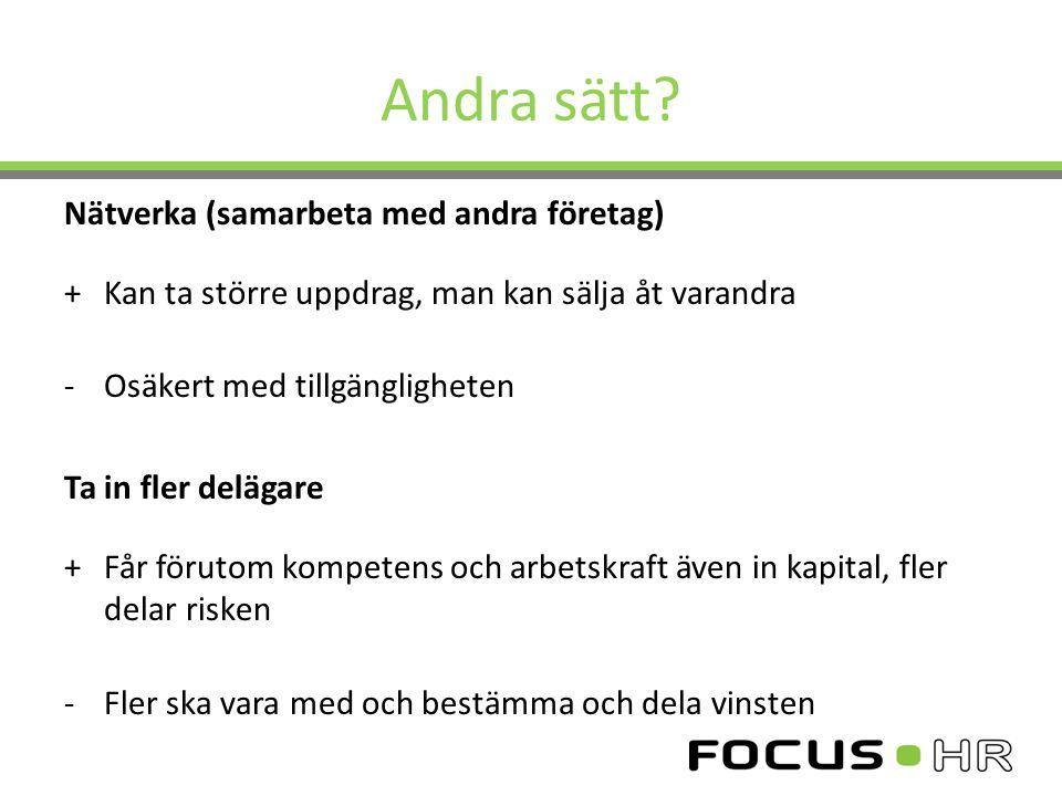 Andra sätt Nätverka (samarbeta med andra företag)