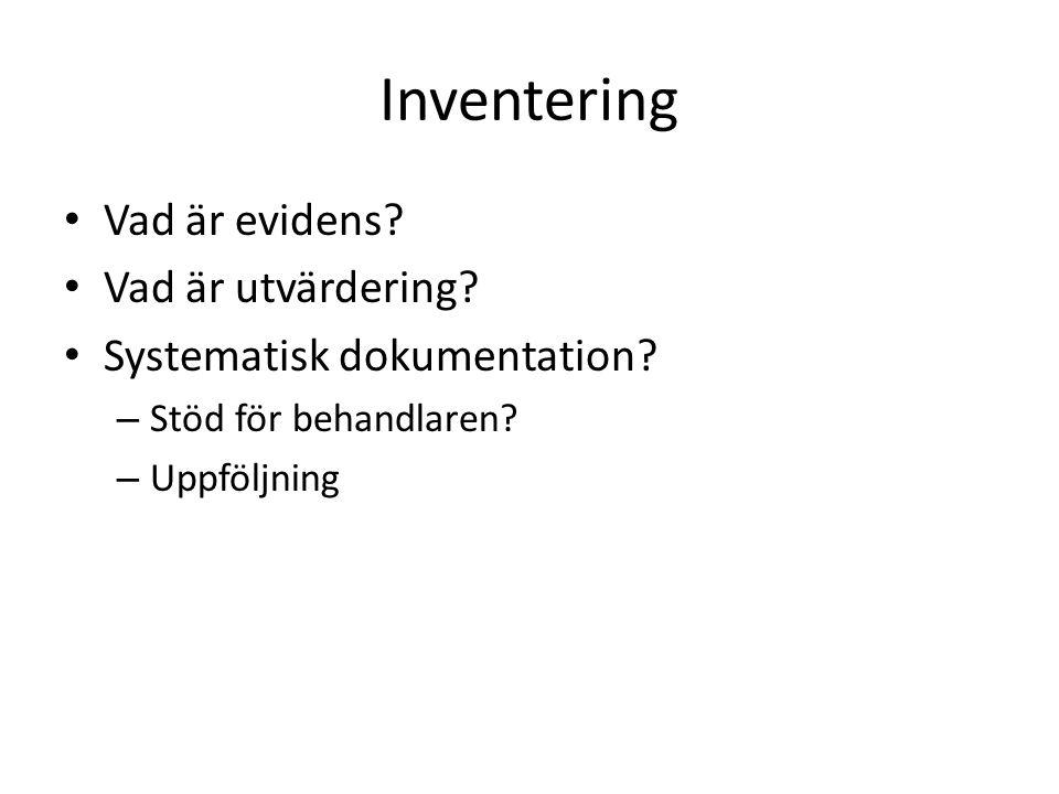 Inventering Vad är evidens Vad är utvärdering