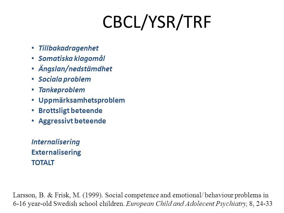 CBCL/YSR/TRF Tillbakadragenhet Somatiska klagomål Ängslan/nedstämdhet