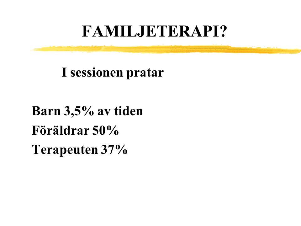 FAMILJETERAPI I sessionen pratar Barn 3,5% av tiden Föräldrar 50%