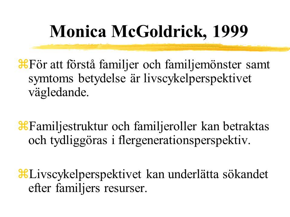 Monica McGoldrick, 1999 För att förstå familjer och familjemönster samt symtoms betydelse är livscykelperspektivet vägledande.