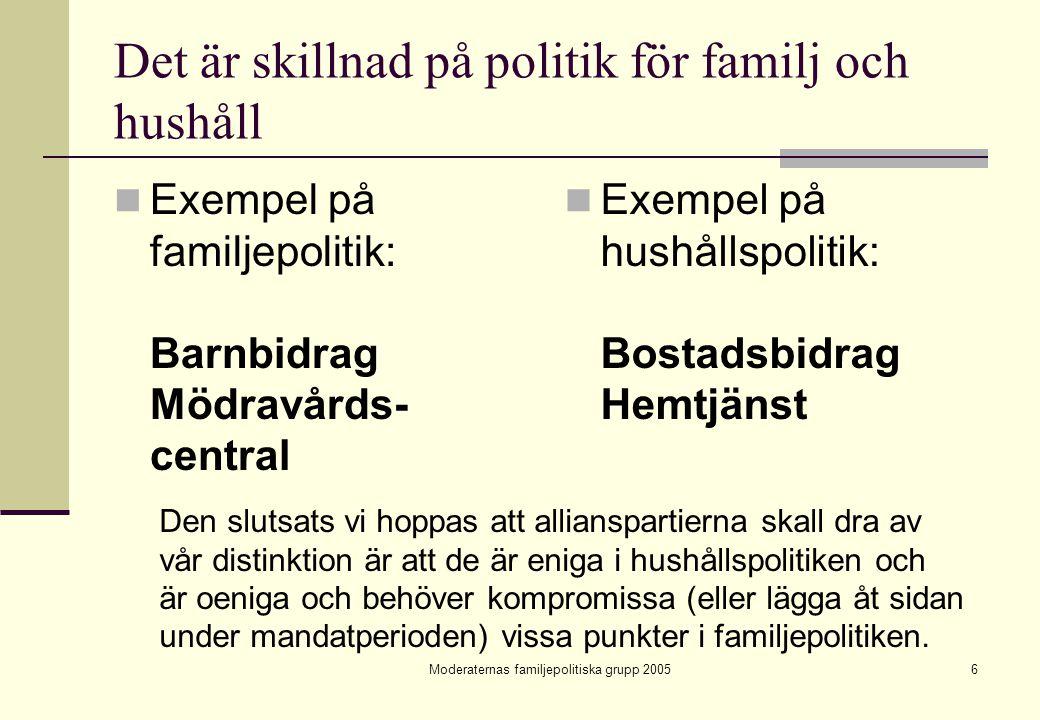 Det är skillnad på politik för familj och hushåll