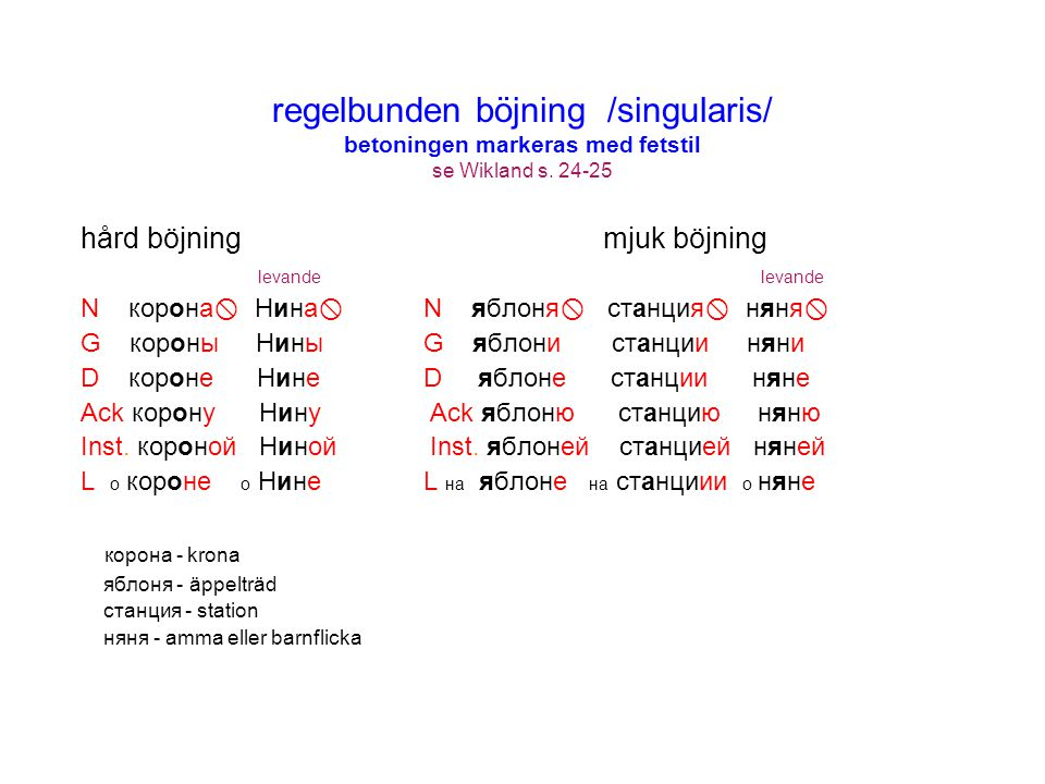 regelbunden böjning /singularis/ betoningen markeras med fetstil se Wikland s. 24-25