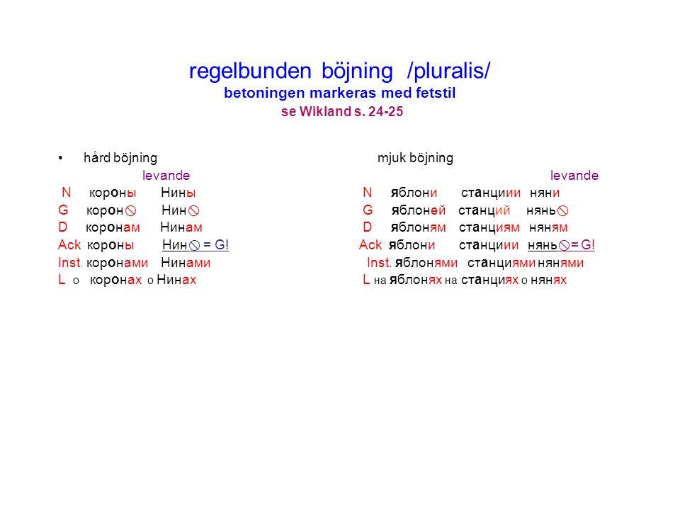 regelbunden böjning /pluralis/ betoningen markeras med fetstil se Wikland s. 24-25