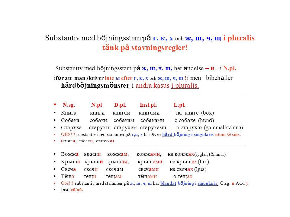 Substantiv med böjningsstam på г, к, х och ж, ш, ч, щ i pluralis tänk på stavningsregler!