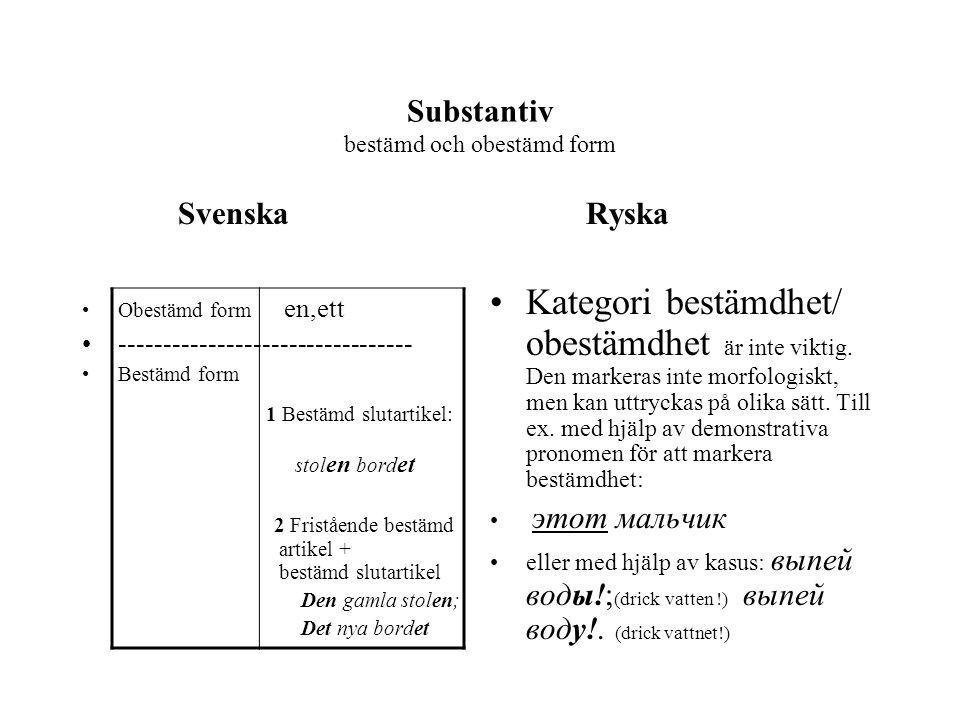 Substantiv bestämd och obestämd form