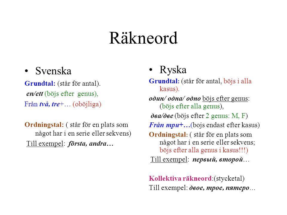 Räkneord Svenska Ryska Grundtal: (står för antal).