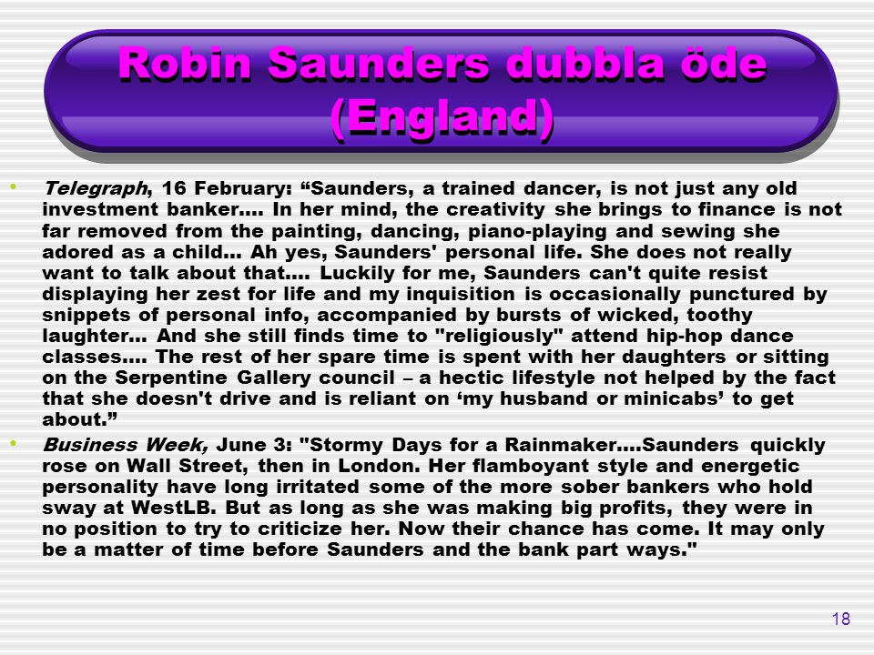 Robin Saunders dubbla öde (England)
