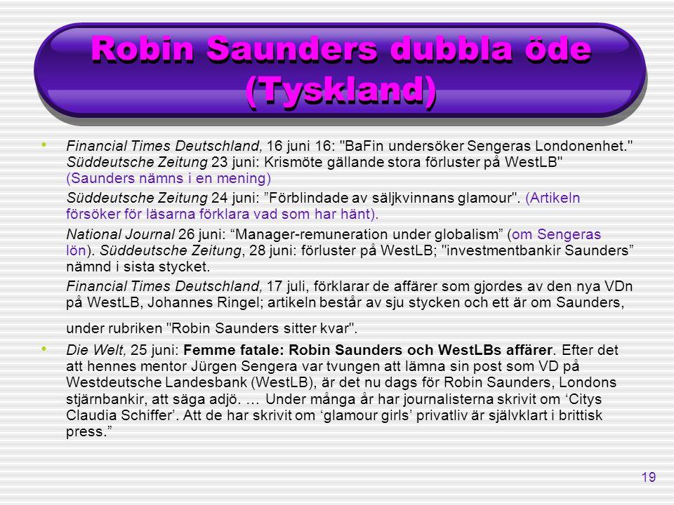 Robin Saunders dubbla öde (Tyskland)