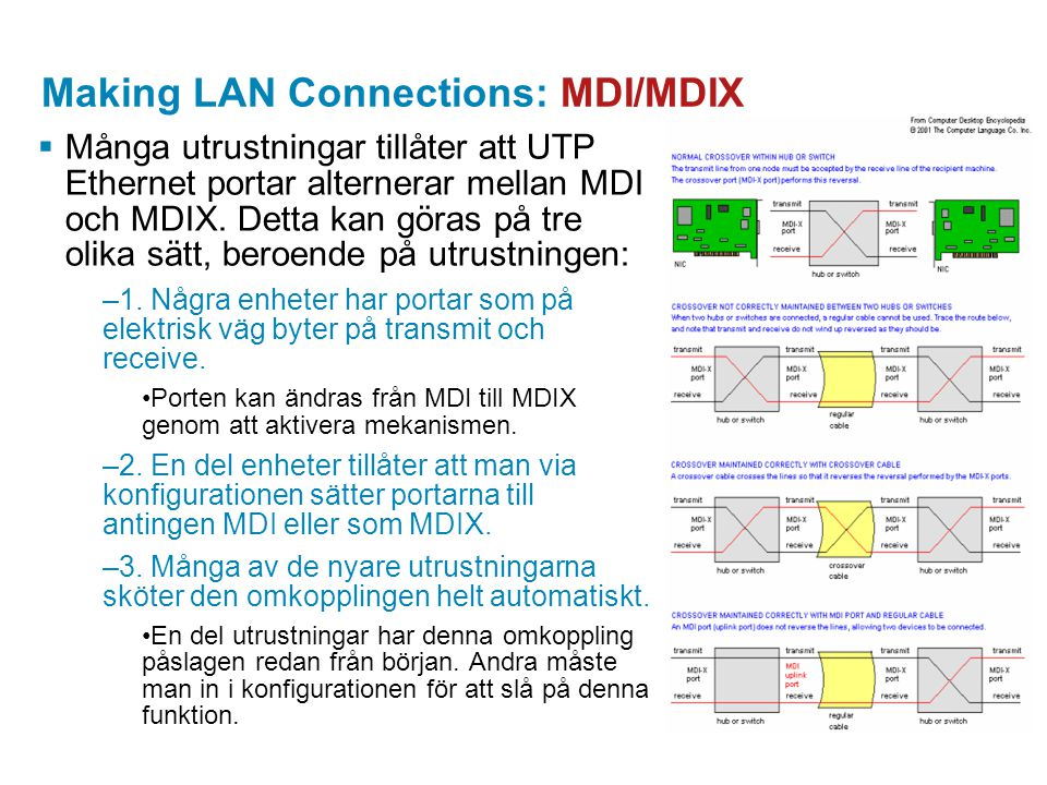 Making LAN Connections: MDI/MDIX