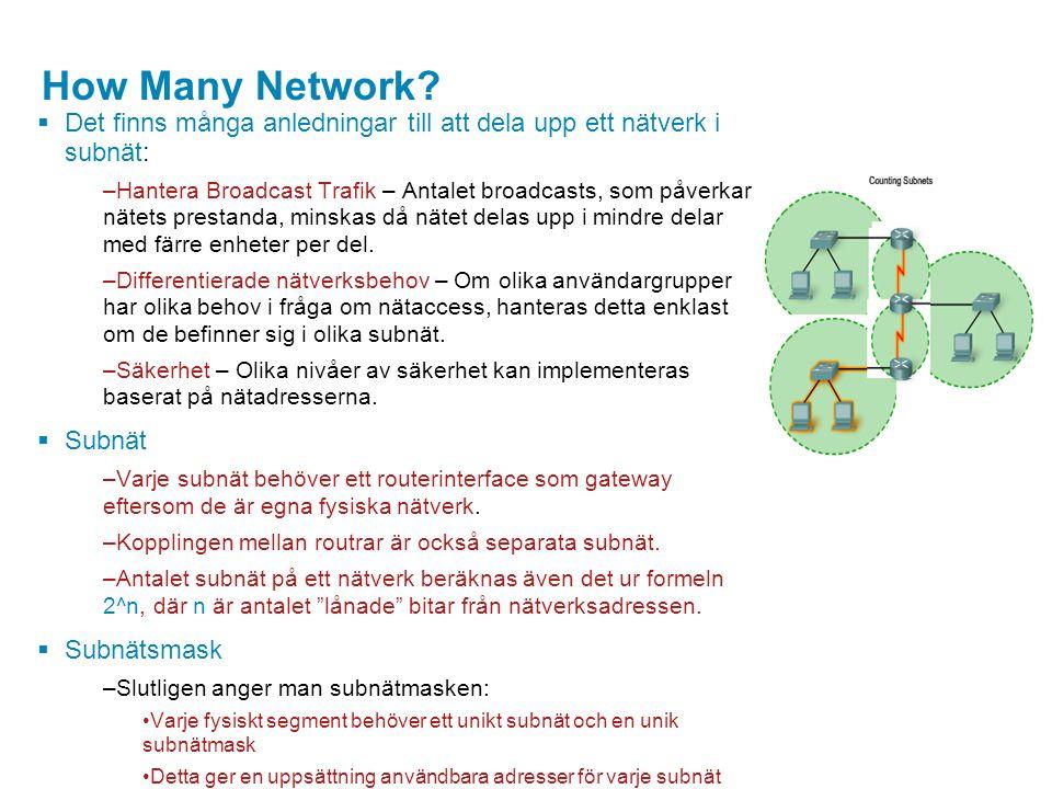 How Many Network Det finns många anledningar till att dela upp ett nätverk i subnät: