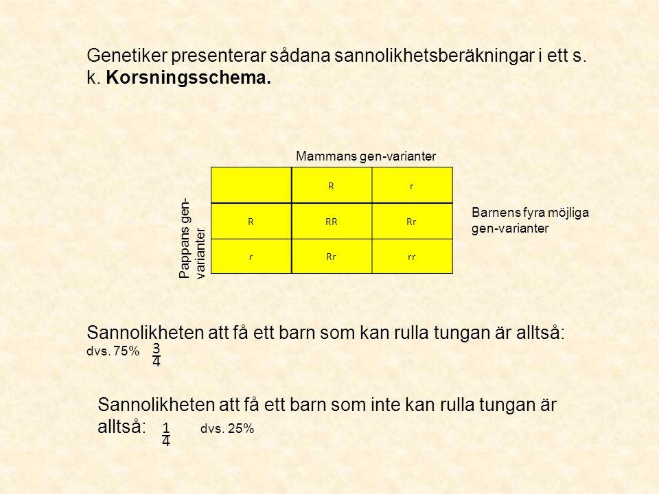Sannolikheten att få ett barn som kan rulla tungan är alltså: dvs. 75%