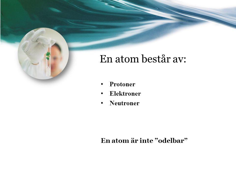 En atom består av: Protoner Elektroner Neutroner