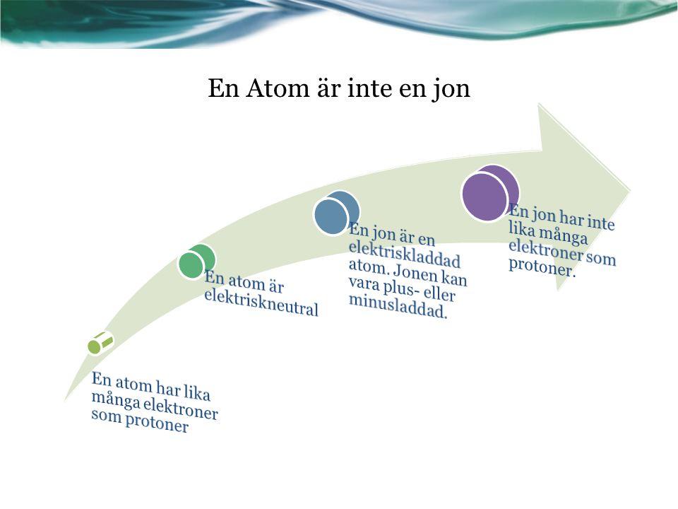 En atom har lika många elektroner som protoner