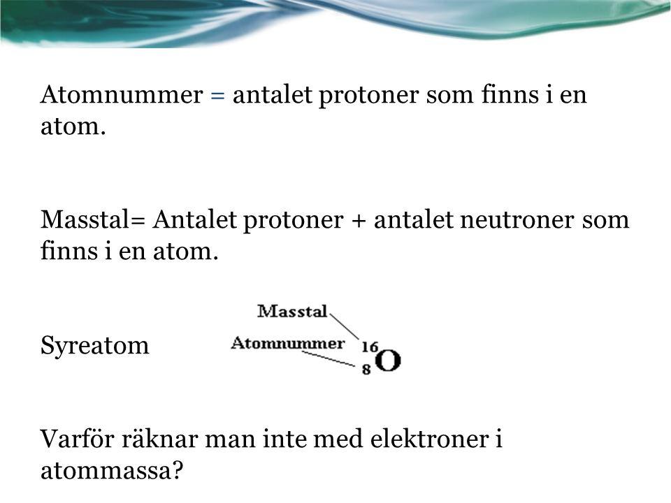 Atomnummer = antalet protoner som finns i en atom