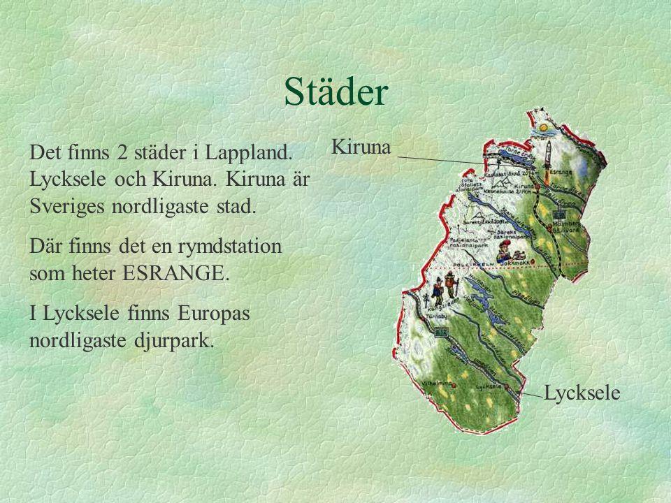 Städer Kiruna. Det finns 2 städer i Lappland. Lycksele och Kiruna. Kiruna är Sveriges nordligaste stad.