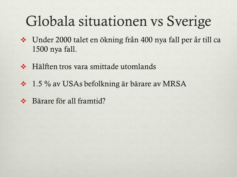 Globala situationen vs Sverige
