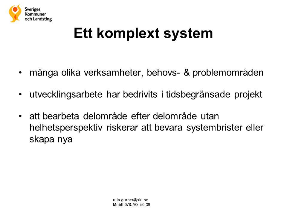 Ett komplext system många olika verksamheter, behovs- & problemområden