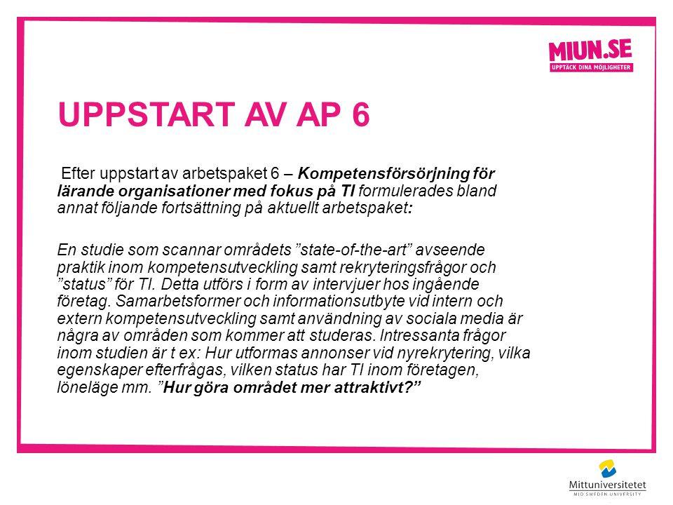 Uppstart av AP 6