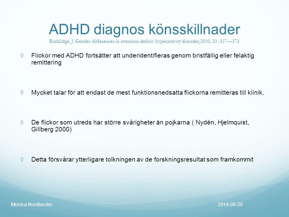 ADHD diagnos könsskillnader Rucklidge, J