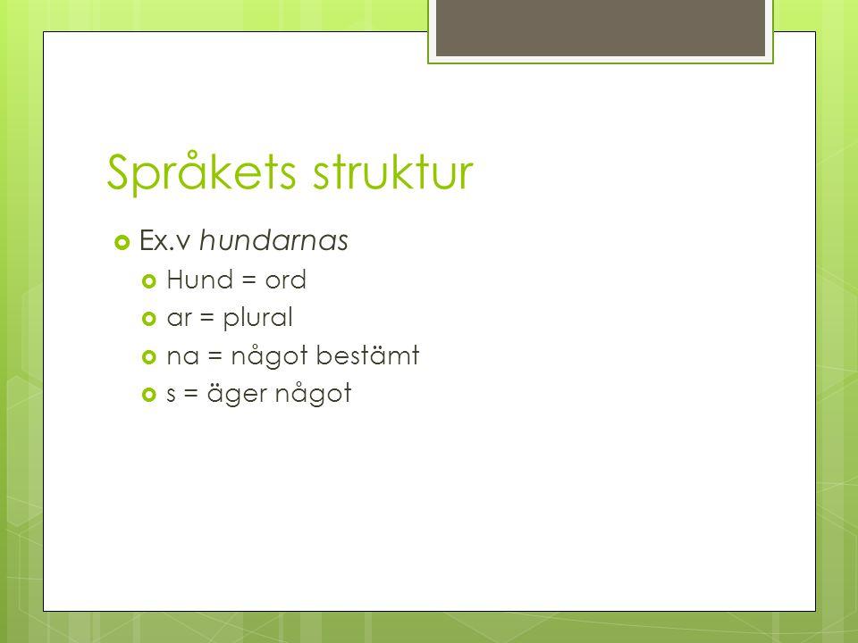 Språkets struktur Ex.v hundarnas Hund = ord ar = plural