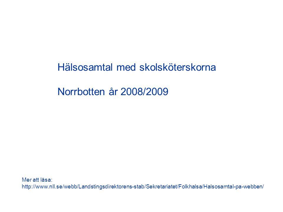 Hälsosamtal med skolsköterskorna Norrbotten år 2008/2009