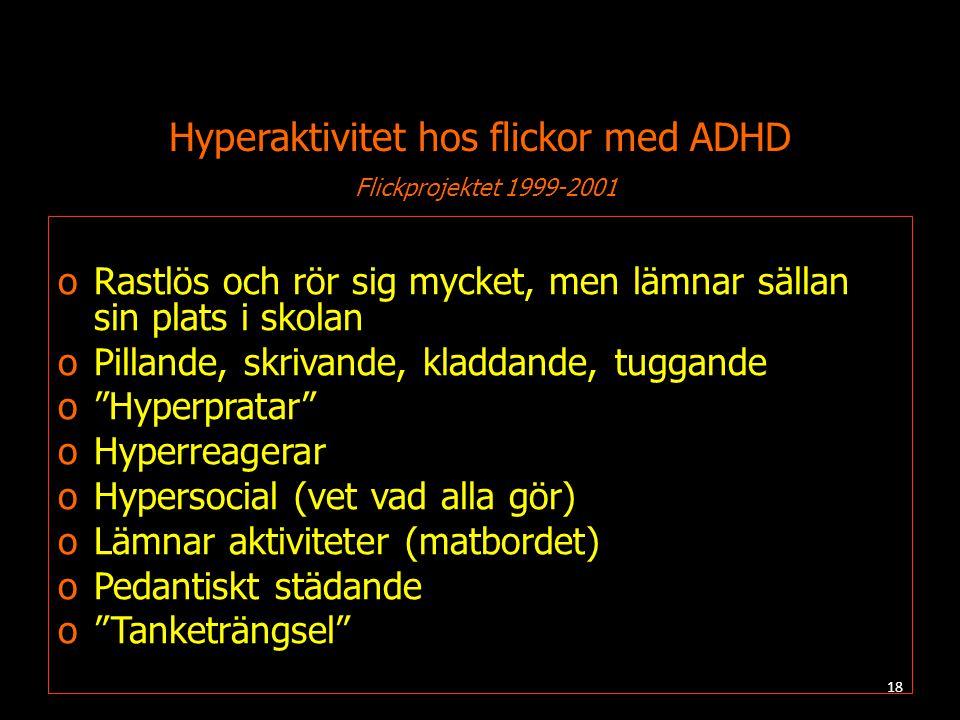 Hyperaktivitet hos flickor med ADHD Flickprojektet 1999-2001