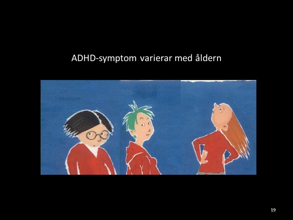 ADHD-symptom varierar med åldern