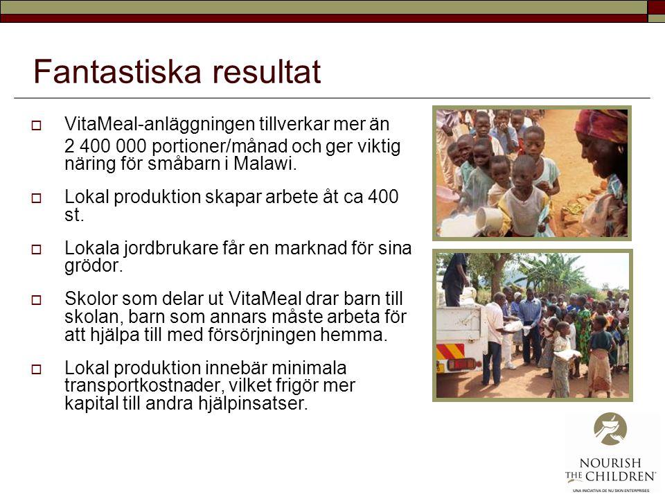 Fantastiska resultat VitaMeal-anläggningen tillverkar mer än