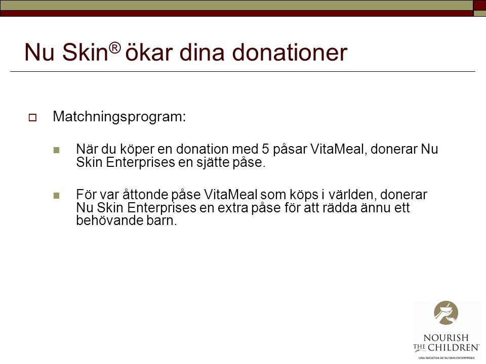 Nu Skin® ökar dina donationer