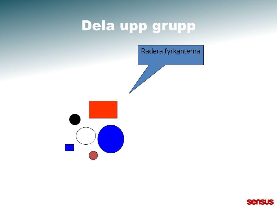 Dela upp grupp Radera fyrkanterna