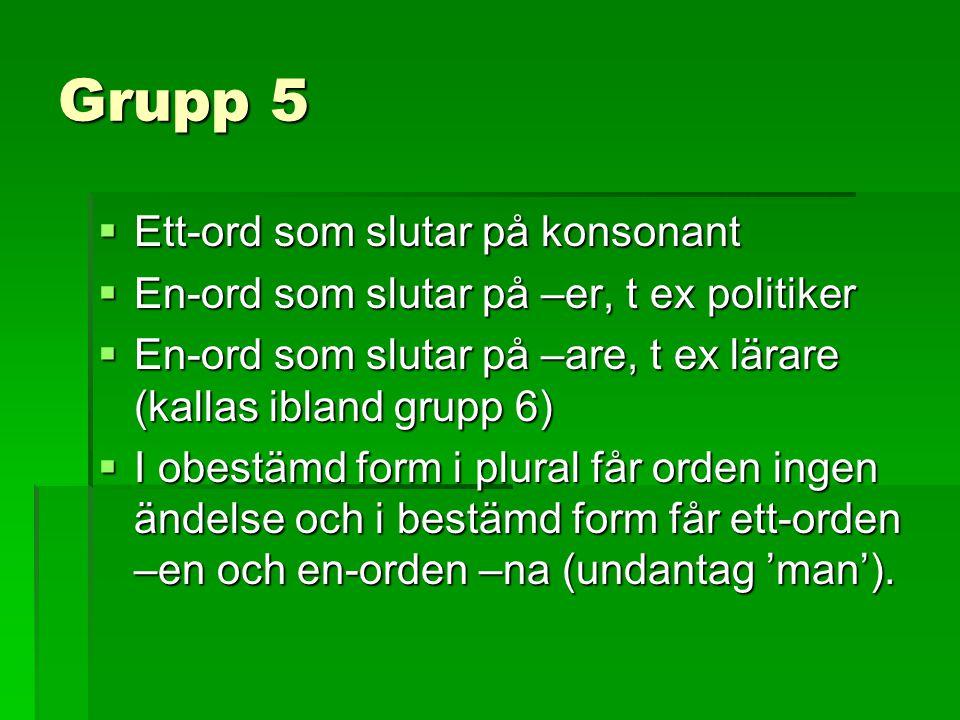 Grupp 5 Ett-ord som slutar på konsonant