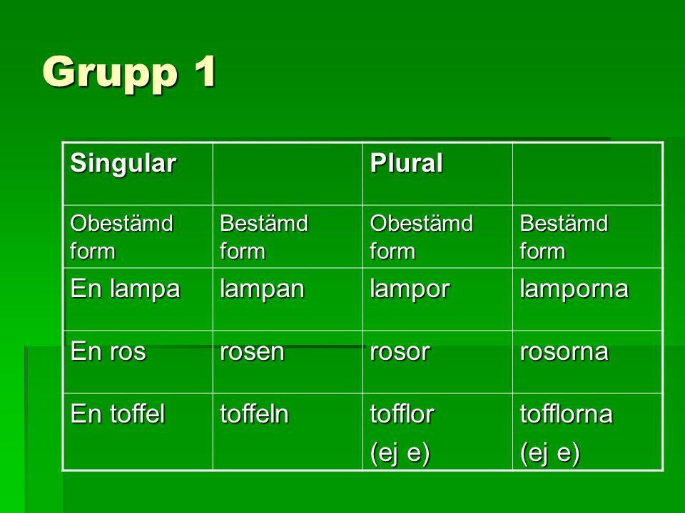 Grupp 1 Singular Plural En lampa lampan lampor lamporna En ros rosen