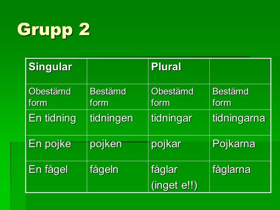 Grupp 2 Singular Plural En tidning tidningen tidningar tidningarna