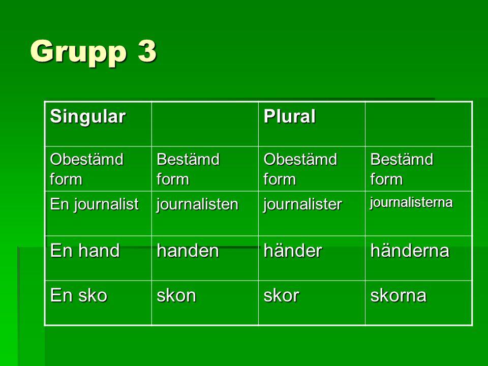 Grupp 3 Singular Plural En hand handen händer händerna En sko skon