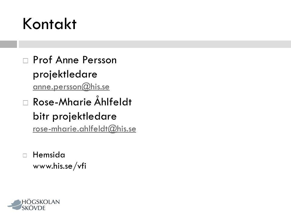 Kontakt Prof Anne Persson projektledare anne.persson@his.se
