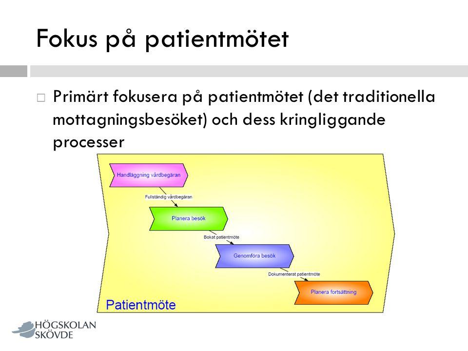 Fokus på patientmötet Primärt fokusera på patientmötet (det traditionella mottagningsbesöket) och dess kringliggande processer.