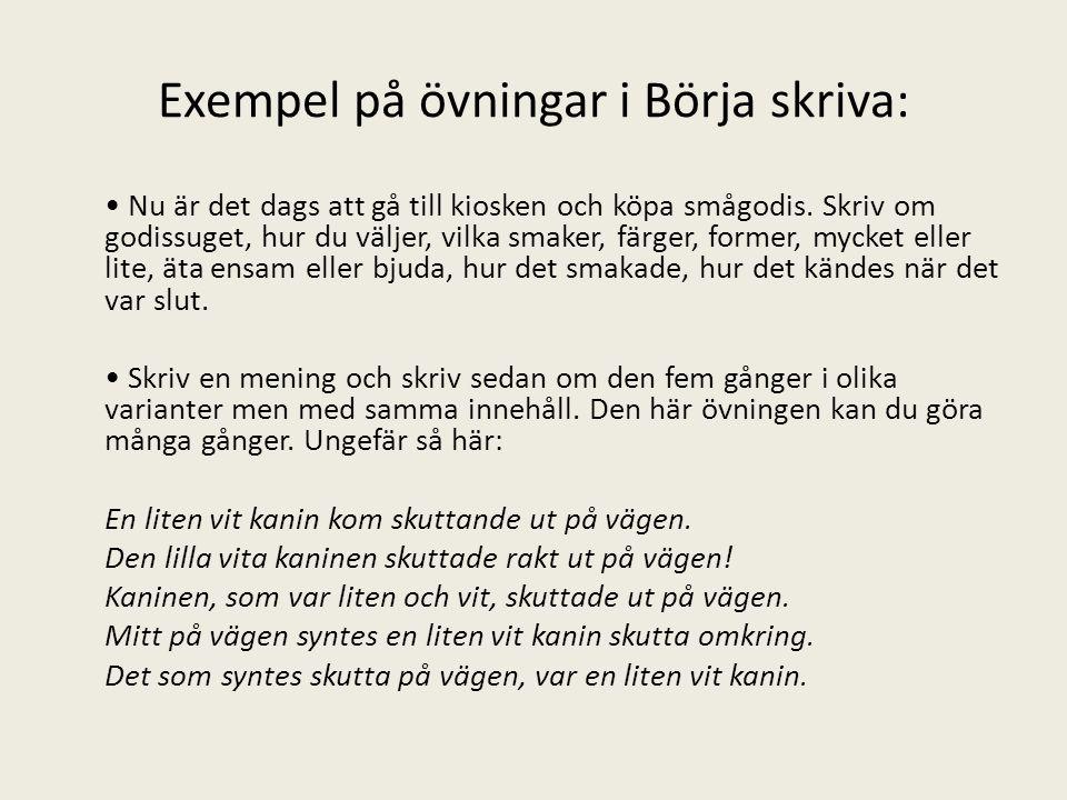 Exempel på övningar i Börja skriva: