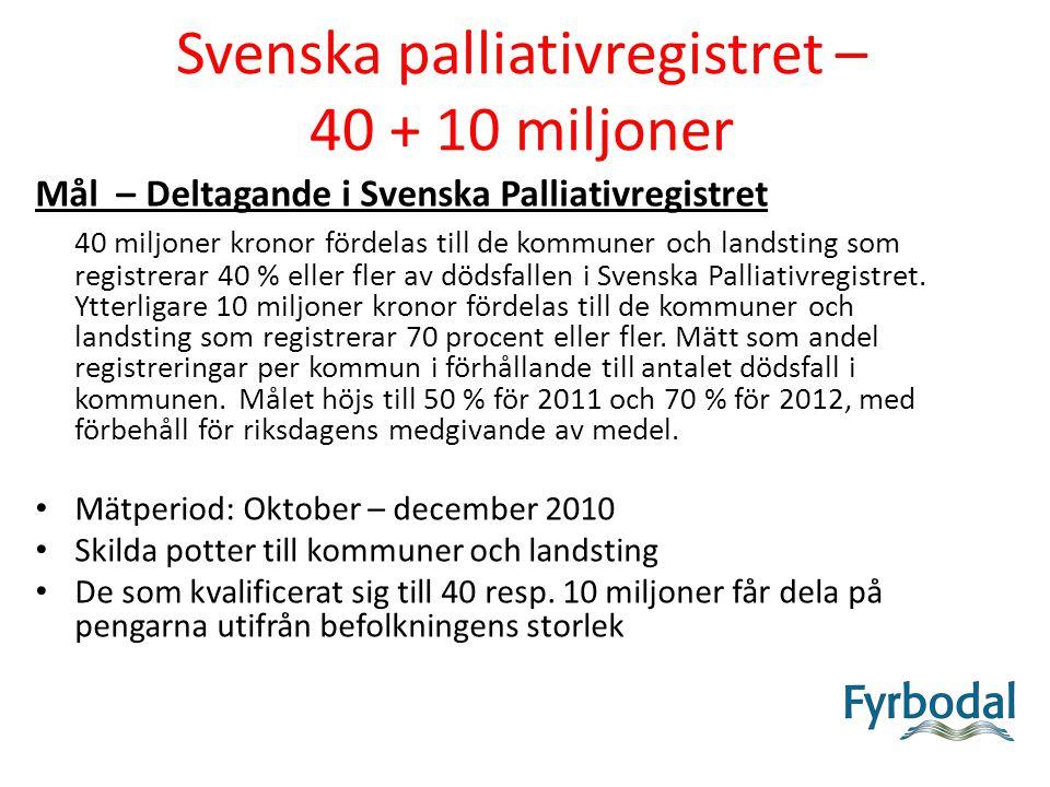 Svenska palliativregistret – 40 + 10 miljoner